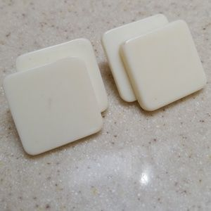 Vintage Earrings Square Acrylic layered Pierced